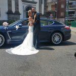 auto sposi Napoli | Porsche Panamera blu | auto nozze