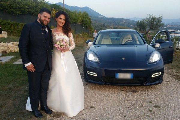 auto sposi Napoli | Panamera blu | noleggio auto