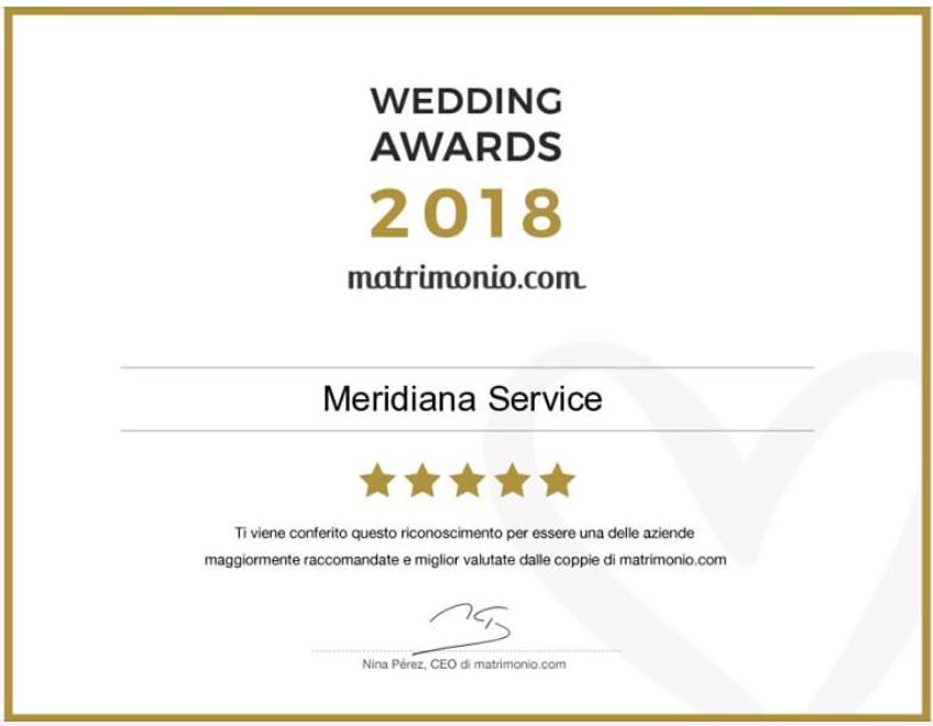 In quest'immagine è rappresentato il wedding awards 2018. Un premio che matrimonio.com ha consegnato a Meridiana Service come i migliori nel settore di noleggio auto per matrimoni